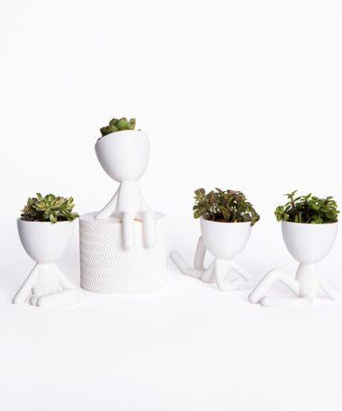 The Original Mini Bob Planter Quartet Meditating Resting Sitting Laying - White